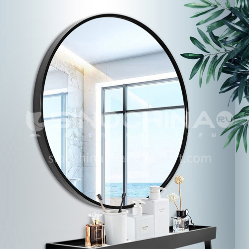 Aluminum alloy bathroom mirror round mirror with shelf, wall-mounted, no perforation